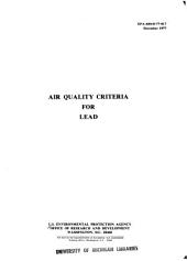 Air Quality Criteria for Lead