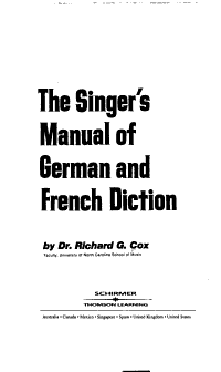 The Singer s Manual of German and French Diction