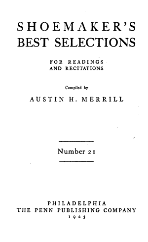 Shoemaker s Best Selections for Readings and Recitations