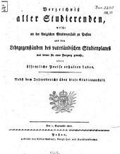Verzeichniß aller Studierenden, welche an der Königlichen Studienanstalt zu Passau aus den Lehrgegenständen des vaterländischen Studienplanes was immer für einen Fortgang gemacht, oder öffentliche Preise erhalten haben: 1810/11 (1811)