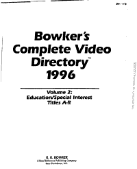Bowker s Complete Video Directory 1996