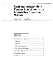 Ranking Independent Timber Investments by Alternative Investment Criteria PDF