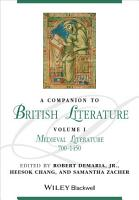 A Companion to British Literature  Volume 1 PDF