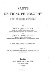 Kant's Critical Philosophy for English Readers: The prolegomena translated, with notes and appendices