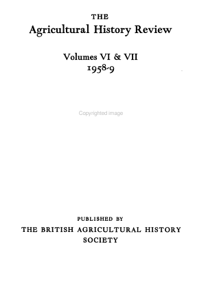 The Agricultural History Review PDF