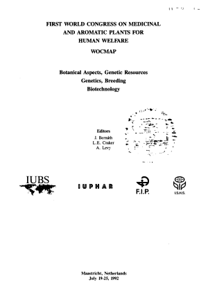 First World Congress on Medicinal and Aromatic Plants for Human Welfare  WOCMAP PDF