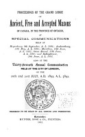 Proceedings of the Grand Lodge of Ancient  Free    Accepted Masons of Canada PDF