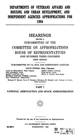 Departments of Veterans Affairs and Housing and Urban Development  and Independent Agencies Appropriations for 1994 PDF