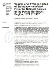 Volume and average prices of stumpage harvested from the national forests of the Pacific Northwest Region, 1974 to 1987