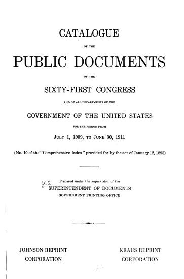 Catalogue of the Public Documents of the     Congress and of All Departments of the Government of the United States PDF
