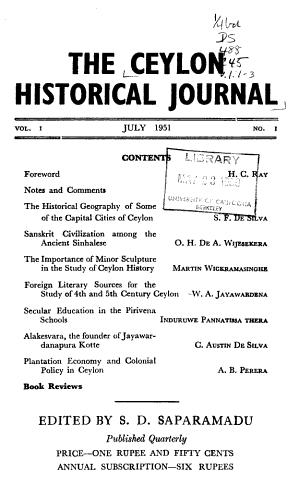 Ceylon Historical Journal
