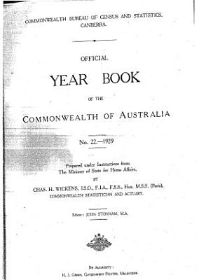 Official Year Book of the Commonwealth of Australia No  22   1929 PDF