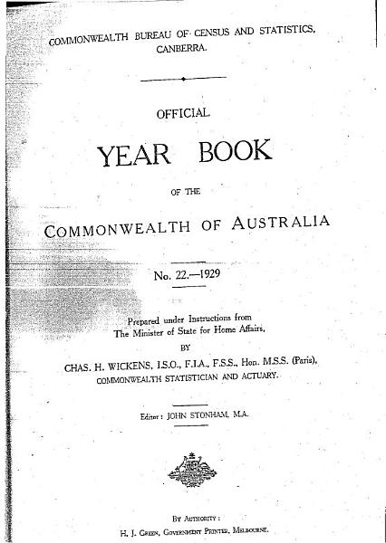 Official Year Book of the Commonwealth of Australia No. 22 - 1929