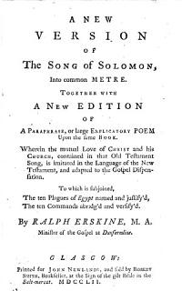 A New Version of the Song of Solomon  Into Common Metre Book