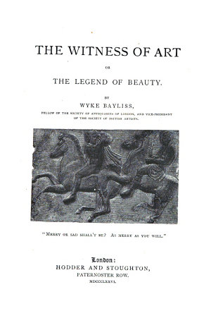 The Witness of Art  Or the Legend of Beauty