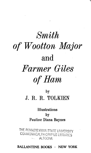 Smith of Wootton Major and Farmer Giles of Ham