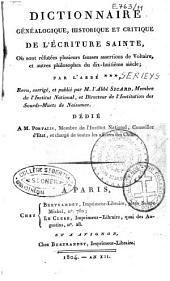 Dictionnaire généalogique, historique et critique de l'Ecriture Sainte