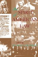 The Spirit Of American Law PDF