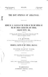 Report of an analysis of the waters of the hot springs on the Hot Springs Reservation ...