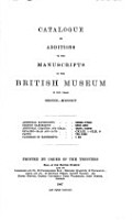 Catalogue of Additions To the Manuscripts PDF