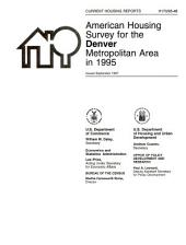 Current Housing Reports: American housing survey for the Denver metropolitan area in ...