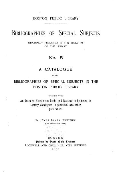 Download Bibliographies of Special Subjects Book