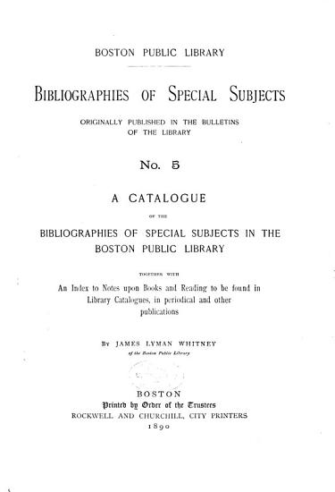 Bibliographies of Special Subjects PDF