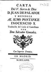 Carta del V. Siervo de Dios D. Juan de Palafox y Mendoza al sumo Pontifice Inocencio X