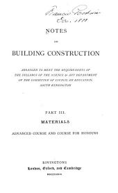 Notes on Building Construction: Volume 3