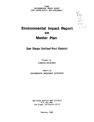 Environmental Impact Report on Master Plan, San Diego Unified Port District