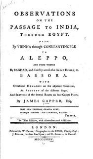 Observations on the Passage to India  Through Egypt Book