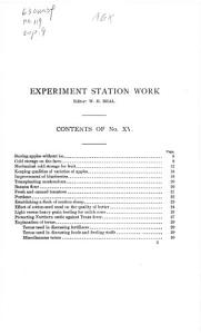 Experiment Station Work  XV PDF