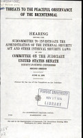 Threats to the Peaceful Observance of the Bicentennial PDF