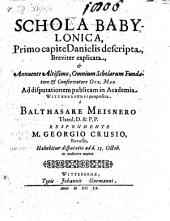 Schola Babylonica, Primo capite Danielis descripta