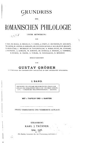 Grundriss Der Romanischen Philologie Unter Mitwirkung Von G  Baist  u a   Herausgegeben Von Gustav Gr  ber PDF