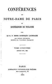 Oeuvers du r.p. Henri Dominique Lacordaire: Conférences de Notre-Dame de Paris et Conférences de Toulouse