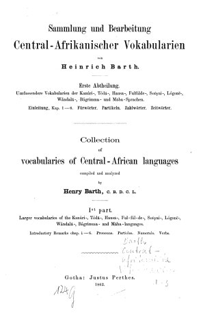 Collection of vocabularies of Central African languages