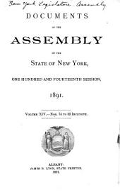 Documents of the Assembly of the State of New York: Volume 114, Issues 74-82