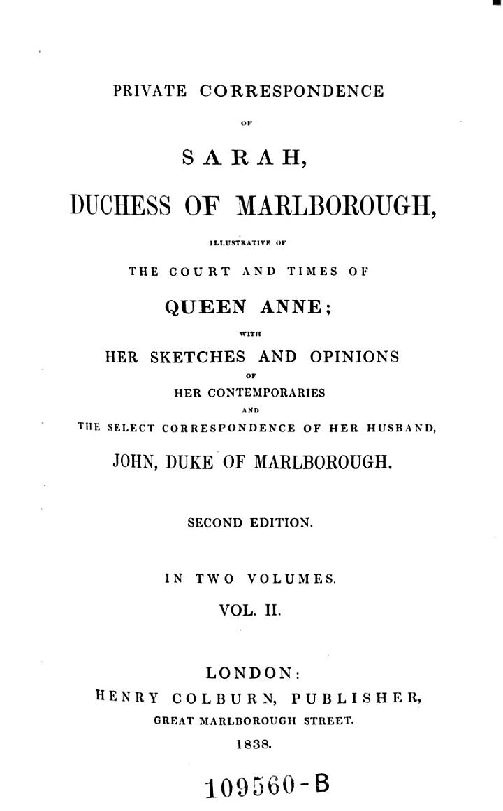 Private Correspondence of Sarah, Duchess of Marlborough