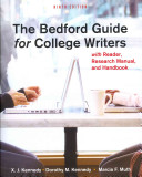 The Bedford Guide for College Writers with Reader Research Manual Handbook 9ed   50 Essays  a Portable Anthology 3ed