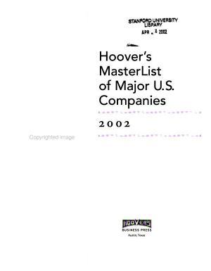 Hoover s MasterList of Major U  S  Companies  2002