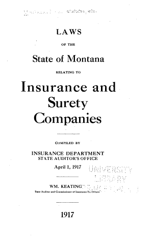 Laws of the State of Montana Relating to Insurance and Surety Companies