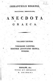 Anecdota Graeca: Volume 3