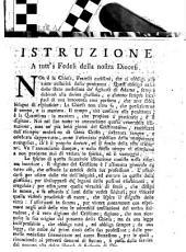 Istruzione a tutt'i fedeli della nostra Diocesi [Giuseppe Maria Capece Zurlo arcivesc.]