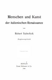 Menschen und Kunst der italienischen Renaissance: Ergänzungsband, Band 2