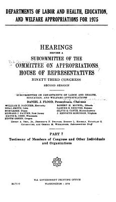 Departments of Labor and Health  Education  and Welfare Appropriations for 1975 PDF