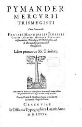 Pymander: De SS. Trinitate, Volume 1