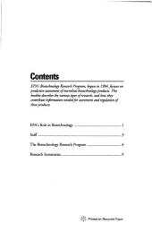 Biotechnology, Research Program Overview