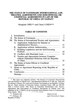The Status of Customary International Law  Treaties  Agreements and Semi official Or Unofficial Agreements in Law of the Republic of China on Taiwan PDF