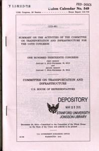Summary on the Activities of the Committee on Transportation and Infrastructure for the     Congress PDF